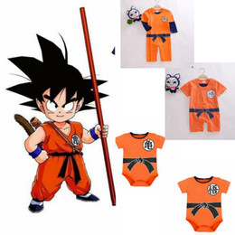 Wholesale baby dragons - Baby Romper Goku Dragon Ball Z Cartoon Infant Toddlers Jumpsuit Cosplay cartoon r baby clothes 0-3year KKA4785