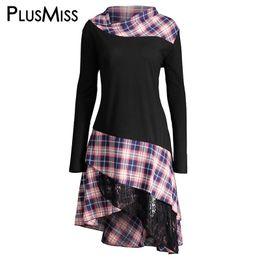 Wholesale Purple Blouses Plus Sizes - PlusMiss Plus Size 5XL Vintage Lace Plaid Panel Tunic Long Top Women Autumn 2017 Long Sleeve Asymmetrical Blouse Shirt Big Size