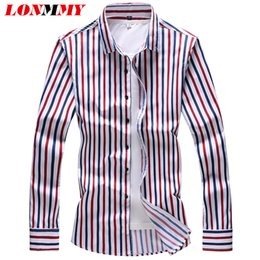 satin blouses shirts Promo Codes - LONMMY 6XL 7XL Vertical stripes men shirt Long Sleeve mens shirts casual slim fit Hawaii blouses male camiseta masculina red