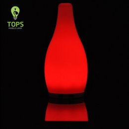 Discount small white led battery - Tops Lighting Brand Hotel Ambience Battery Operated Small Bottle Table Lamps Portable Glass Decorative Cordless RGB LED Mobile Lamps