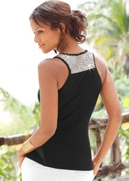 Wholesale Sequin Vests Black - The 2018 new women's wear sequins are decorated with a halter top vest.