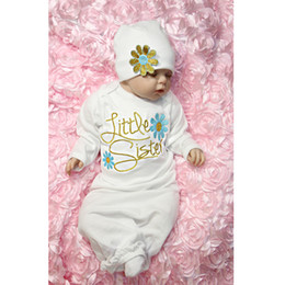 Wholesale Flower Baby Hats - New baby little sister letters embroidered flowers girls Long section dresses +flower hats 2pcs set long sleeves kids Clothing Sets