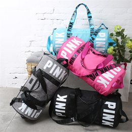 Wholesale Camping Hiking Storage - Love Pink Storage Bag Big Large Pink Women 4 Colors Travel Fitness Bag Hangbag Waterproof Duffel Bags Bags 10 PCS