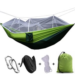 Wholesale outdoor hammock nets - Camping Hammock Mosquito Net Lightweight Parachute Portable Double Hammock Capacity For Backyard Outdoor Support FBA Drop Shipping G674F