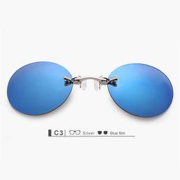 be5866ccca5 Clip On Nose Sunglasses Men Vintage Hacker Empire Matrix Morpheus Rimless  Sun Glasses Round Glasses UV400