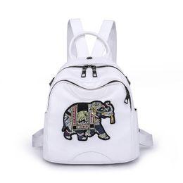 2018 nuevas mujeres mochila de cuero mochila escolar mochilas para adolescentes patrón de elefante femenino estilo preppy mochila pequeña mochila desde fabricantes