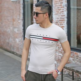 Wholesale t shirt printing plus size - 2018 Summer T Shirt For Men Tops Luxury Designer Tees With Brand Letters Printed Stripe Short Sleeve Shirts Men Plus Size Clothing M-3XL