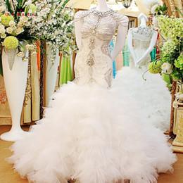 Бриллиантовые свадебные платья онлайн-Русалка милая свадебные платья Sexy Luxury Crystal Diamond свадебные платья свадебные платья Vestido де Noiva на заказ QB12