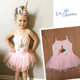 Wholesale Toddler Dance Dresses - Unicorn Princess Pink TUTU dress Unicorn Summer Children Dresses Toddler Sweet Baby Girl dancing dress FFA031
