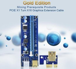Wholesale Power Supply Gold - VER 008C 009S VBitcoin Ver008C With LED VER009S Gold Plated Miner Riser PCI-E Express 1X to 16X Graphics Card USB 3.0 Power Supply