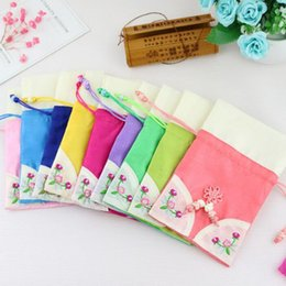 Wholesale Wholesale Scented Sachet - Korean Style Embroidery Perfume Bag Sachet Pouch Car Wardrobe Incense Scent Bag Jewelry Package Bag 10*15cm ZA6135
