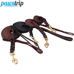 Wholesale Extra Strong - Wholesale-High Quality Genuine Leather Pet Dog Leash Luxury Strong Puppy Collar Leash Lead For Large Dogs S M L XL
