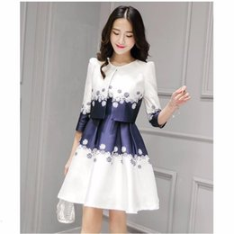 Wholesale Women Dresses Blazers - Spring Summer Female Dress Coat 2 Pieces 2017 Slim Floral Printed Pleated Fashionable Sleeveless Mini Dress + Coat For Girl