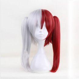 My Boku no Hero Академия Тодороки Шото Аниме Парик для косплея Красный белый парик с хвостиком cheap wig red ponytail от Поставщики парик красный конский хвост