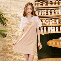 Luxury Summer Laced Silk Sleeping Dress Laced V-Neck Pajamas Dress  ShortSleeve Lady Satin Nightgown Homewear Pijama Feminino dbae22f37dd6