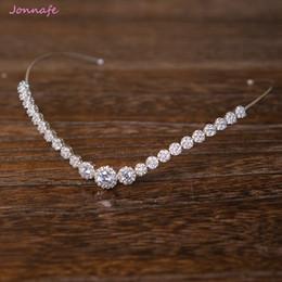 Wholesale White Diamond Tiara - Jonnafe Fashion Bridal Forehead Tiara Zirconia Wedding Hair Crown Accessories Silver Women Prom Hairband Jewelry