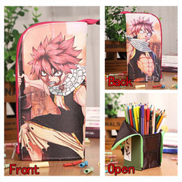 Wholesale Fairy Stationery - Anime Fairy Tail Natsu Waterproof PU Leather Stationery Pouch Brush Pot Pen Holder Pencil Case Bag Office School Supplies