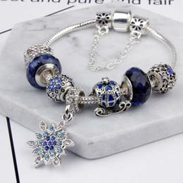 blaue armbänder armbänder Rabatt Charm Perlen Fit für Pandora Schmuck 925 Silber Armbänder Schneeflocke Anhänger Armreif blauen Himmel Kürbis Warenkorb Charms Diy Schmuck mit Geschenkbox