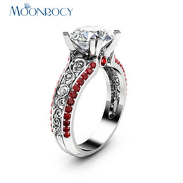Wholesale Womens Vintage Ring - MOONROCY CZ Red Crystal Ring Rose Gold Color Vintage Wedding Rings Vintage Womens Jewelry for Women Girls Gift Drop Shipping