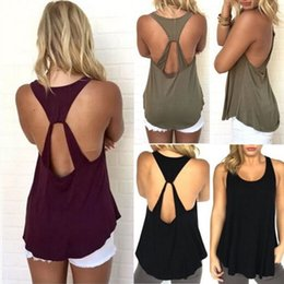 Wholesale Low Cut Tanks Xl - ITFABS Hot Summer Women Sleeveless Backless Low Cut Cami Tee T-Shirt Stylish Tank Top Vest