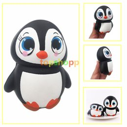 Wholesale kawaii design - New Arrival 14CM Jumbo Animal Penguin Kawaii Cute Cartoon Squishy Slow Rising Phone Straps Soft Bread Cake kid Toy Gift New Design