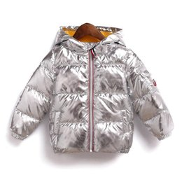 c9e0acb66 Kids Bread Thick hooded jacket 2018 winter Down coat baby Boys gold silver  Outwear children Clothing MMA691 20pcs