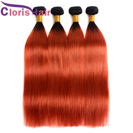 human hair extensions blonde highlights Promo Codes - Highlight Orange Ombre Bundles Straight Raw Virgin Indian Hair Extensions Colored 1B 350 Golden Blonde Ombre Human Hair Weaves On Sale