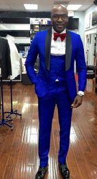 Wholesale beautiful wool - Beautiful Slim Fit Royal Blue Groom Tuxedos Men Formal Business Suits Men Prom Dinner Suits Custom Made(Jacket+Pants+Tie+Vest)NO;726