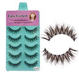 Wholesale Cheap Fake Eyelashes - 5 Pairs false eyelashes Handmade Natural Black Long Thick False Eyelashes Fake Eye Lashes Extensions Makeup cheap DHL Free Shipping