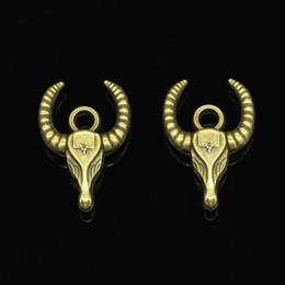 Wholesale Bronze Bull Ox - 20pcs Zinc Alloy Charms Antique Bronze Plated bull ox head Charms for Jewelry Making DIY Handmade Pendants 29*20mm