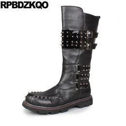 Wholesale embellished boots - Embellished Zipper Fashion Knee High Stud Black Tall Sole Shoes Men Metalic Top Boots Mid Calf Male Comfortable 2017 Footwear