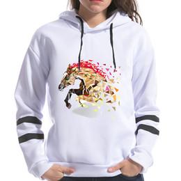 Wholesale Fox Horse - 2018 Geometric Horse Fox Print Women Sweatshirts Hooded Long Sleeve Harajuku Kawaii Printing Female Spring Hoodies Tops