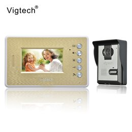 Wholesale Wired Doorbell Intercom System - Vigtech Home Wired Cheap 4.3' inch LCD Color Video Door Phone DoorBell Intercom System IR Night vision Camera FREE SHIPPING