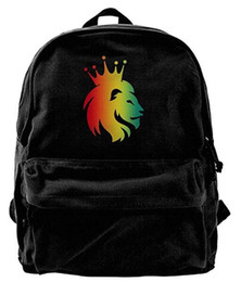lion canvas print Coupons - Cool Reggae Rasta Lion Crown Unisex Classic Canvas Travel Backpack Rucksack Daypack