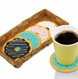 Wholesale Table Mats Decoration - 4pcs set Round Donut Coaster Drink Bottle Beer Beverage Cup Mat Pads Plastic Coasters Kitchen Table Decoration Accessories CCA8612 48lot