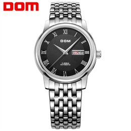 Wholesale dom watches - DOM M-54 Top Business Mens automatic mechanical Watches Double calendar stainless steel waterproof men's watch Hot Sale gift