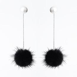 aretes inteligentes Rebajas Smart Mink Hair Ball Plata de ley 925 Pendientes largos largos colgantes Pendientes de alambre de oreja de perla coreana para mujeres