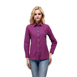 Wholesale purple plaid shirt women - Women Plaid Printing Shirt Female Blouses Shirts Spring Fashion Pure Cotton Casual Ladies Long Sleeves Basic Blouse