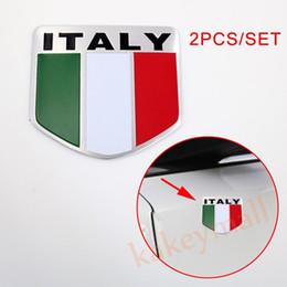 etiqueta do carro de italy Desconto Par Escudo Da Bandeira Da Itália Logotipo Emblema Decore Etiqueta Do Emblema Do Carro Decalque Acessório