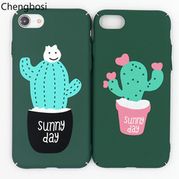 Le copertine posteriori del telefono mobile sveglio online-Custodie per telefoni cellulari Cute Plant Cactus per IPhone 6 6s 7 8plus Scrub opaco