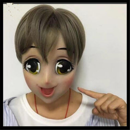 Wholesale Cute Wedding Masks - Hot 2018 New Anime Girl Mask Cosplay Cartoon Crossdresser Latex Adult Blue Eyes Cute Anime Female Face Masken Free Shipping