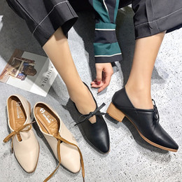 Wholesale British Pumps - 2018 New spring and autumn women's shoes in the British lazy shoes will be thick T143