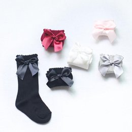 Wholesale Girls Knee High Tube Socks - Baby Girls Winter Solid Warm Knee High Socks with Bows Princess Cute Long Tube Kids Booties Vertical Striped Socks Hot Selling