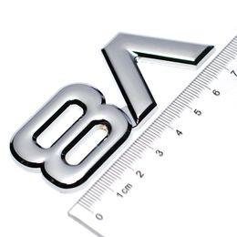 Logos de voitures ailes en Ligne-Auto Alliage de métal 3D V8 Logo Moteur Cylindrée Coffre Arrière De Voiture Insigne Decal Chrome V8 Côté Aile Emblème Autocollant Auto Car Styling