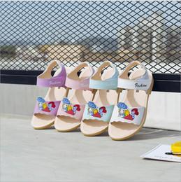 2018 nouvelles sandales de filles petite été princesse cuir souple été version coréenne mignonne des chaussures de glisse de cinq-quatre ans ? partir de fabricateur