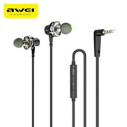 pilote de câble Promotion Awei Z1 Dual Drivers Ecouteurs filaires Deep Bass Stereo avec micro In-Ear