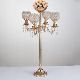 2019 fiori di candelabri Candelabro di cristallo alto candelabro di 89 candelabri di altezza con la decorazione di evento del partito del bastone di candela del metallo della ciotola del fiore di Nizza fiori di candelabri economici