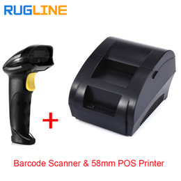 Wholesale Printers Free Shipping - Free shipping usb port Barcode scanner and 2 inch 58mm thermal receipt printer pos for retail supermarket