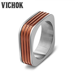 Wholesale Stainless Jewellry - Brand Simple Style Square Rings 316L Stainless Steel Band Rings Fashion Jewellry For Women Girl Accessories bague femme New Design VICHOK