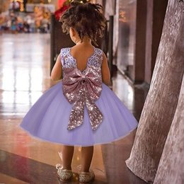 dresses for fancy parties Promo Codes - Fancy Sequin big bowknot children dresses 1 year Birthday Dresses for kids clothes Christening Gowns Toddle Costume Wedding party